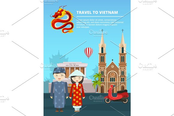 Illustration Of Urban Landscape With Vietnam Landmarks And Symbols