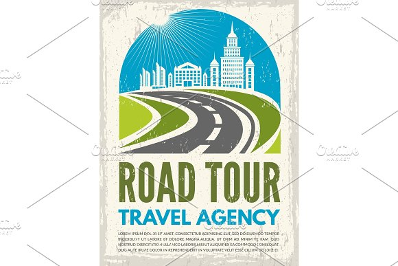Retro Poster With Illustration Of Highway And Urban Landscape