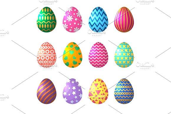 Easter Eggs In Cartoon Style Celebration Symbols