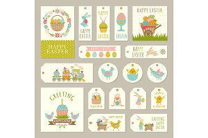 Labels, tags with illustrations of easter theme with rabbits, plants and colored eggs
