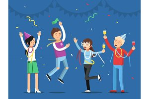 Funny people celebrating on the party. Mascot designs in flat style