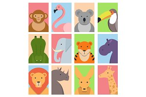 Cute square avatars with wild animals