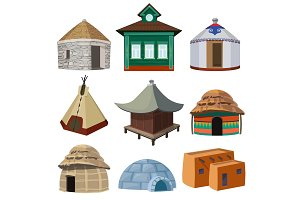 Traditional buildings and small houses of world different nations