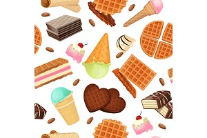 Seamless pattern from vaffel desserts and sweets