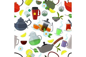 Tea kettles and cups. Vector seamless pattern