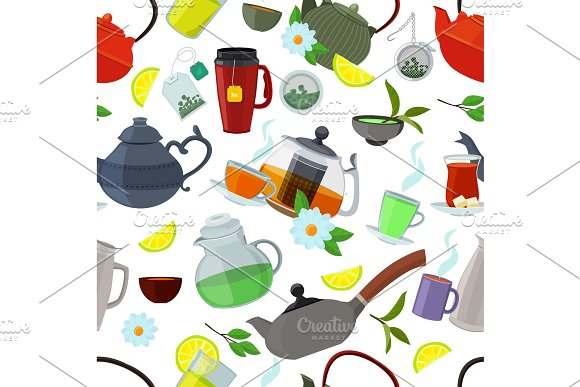 Tea Kettles And Cups Vector Seamless Pattern