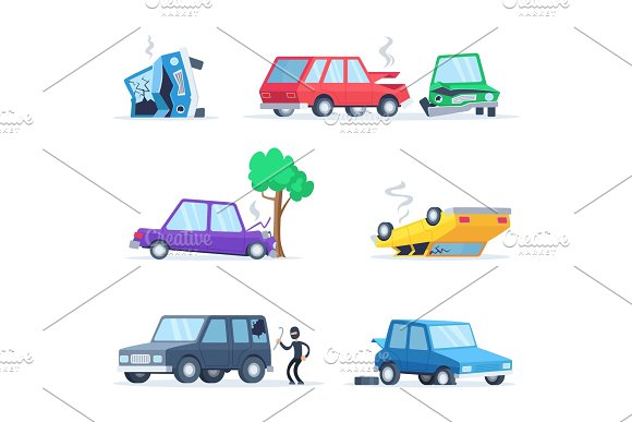 Vector Pictures Set Of Different Accidents On The Road Big Damage Of Cars