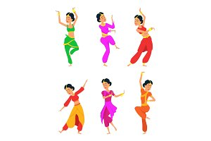 Female indian dancers. Cartoon characters