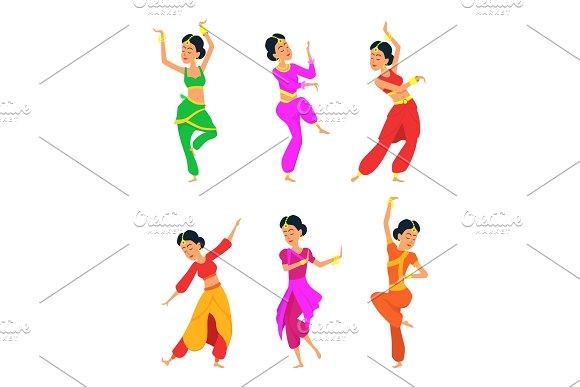 Female Indian Dancers Cartoon Characters
