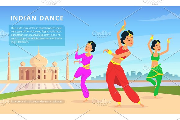 Urban Traditional Indian Landscape With Beautiful Dancers
