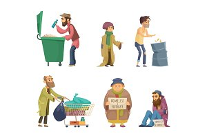 Poor and homeless adults people. Vector characters set