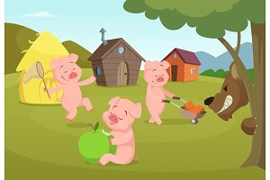 Three little pigs near their small houses and scary wolf