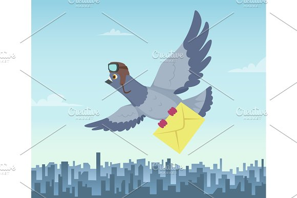 Mailing Service With Flying Pigeons Air Delivery Symbols