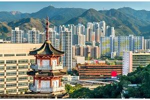 Pagoda at Po Fook Hill Columbarium and Sha Tin skyline in Hong Kong