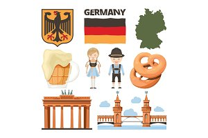 Travel pictures. Set of traditional and cultural objects of germany