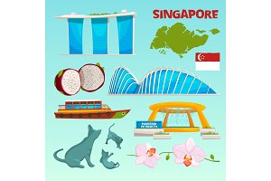 Set different landmarks of singapore