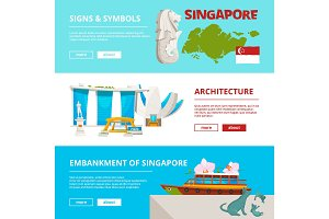 Banners template with cultural objects and landmarks of singapore