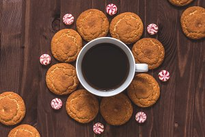 Cup of coffee, oatmeal cookies