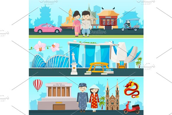 Banners Illustrations Of East Countries Vietnam Thailand And Singapore