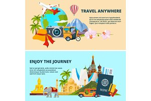 Illustrations of travel theme with pictures of different world landmarks