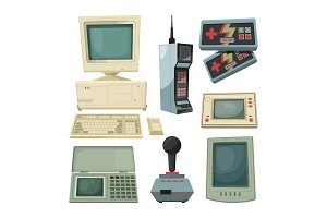 Retro illustrations of technicians gadgets. Vector pictures