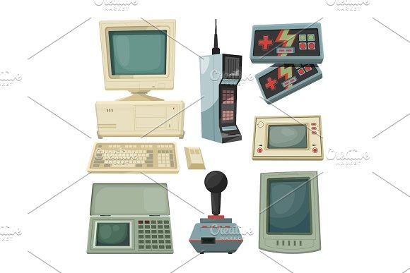 Retro Illustrations Of Technicians Gadgets Vector Pictures