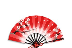 Realistic japanese folding fan