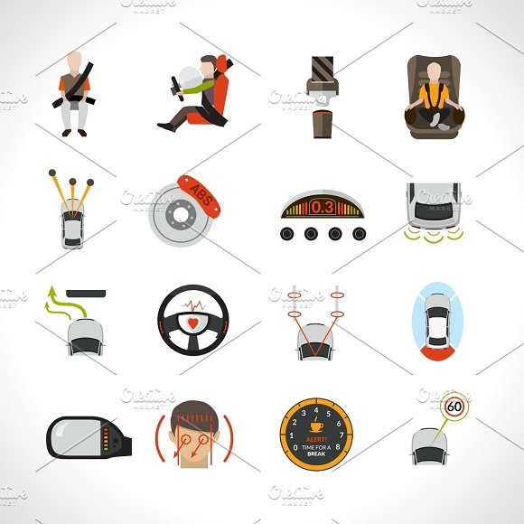 Car Safety System Icons Set