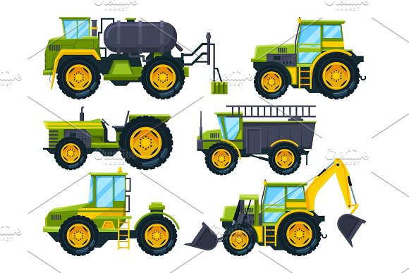 Agricultural Machinery Colored Pictures In Cartoon Style