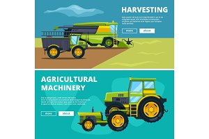 Banners set with illustrations of agricultural machinery