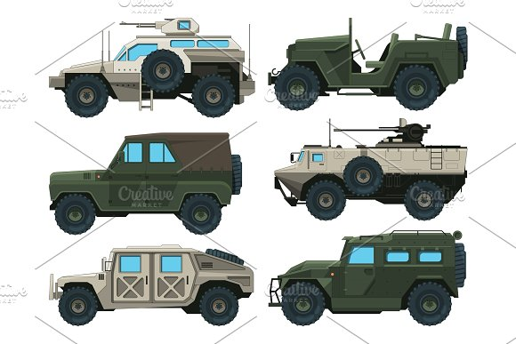 Army vehicles set. Colored vector illustrations