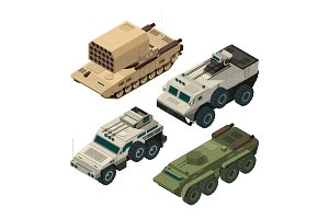 Isometric pictures of army heavy vehicles. Vector pictures set