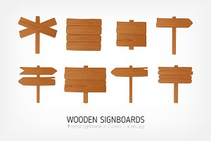 Wooden signboards, pointers