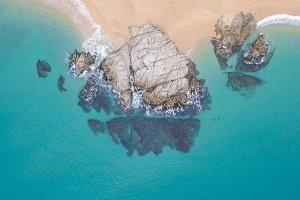 Aerial views of the rocks in the sea