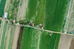 Aerial views of several fields of cr