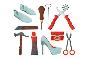 Tradesman in shoes repair workshop. Vector pictures isolate