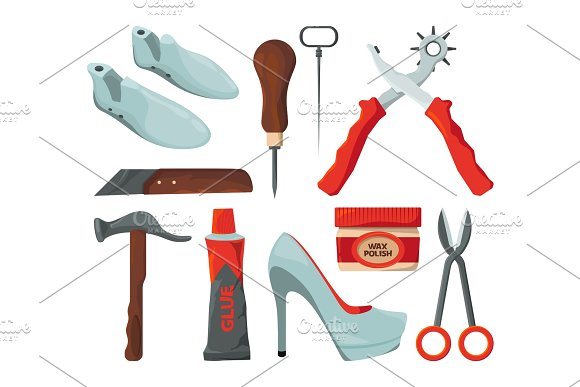 Tradesman In Shoes Repair Workshop Vector Pictures Isolate