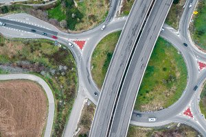 Photography aerial of a highways wit