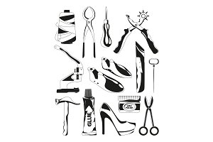 Monochrome pictures set of shoes repair tools