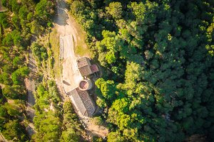 Aerial view of a chapel in Blanes,