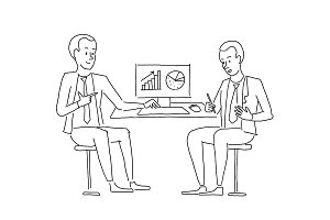 Sketch people at the table. Two businessman discussing business at work table looking at diagrams. Business situation. Hand drawn vector illustration.