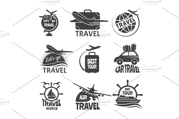 Vector Label Or Logos Forma Travelling Theme Monochrome Pictures Of Airplanes