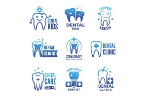 Labels and logos set of dental theme and illustrations of healthy teeth