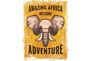 Retro poster template with illustration of african elephant