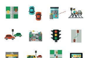 Traffic icons flat set