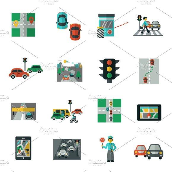 Traffic Icons Flat Set