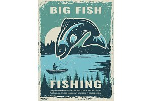 Retro poster of fisherman club with illustration of big fish