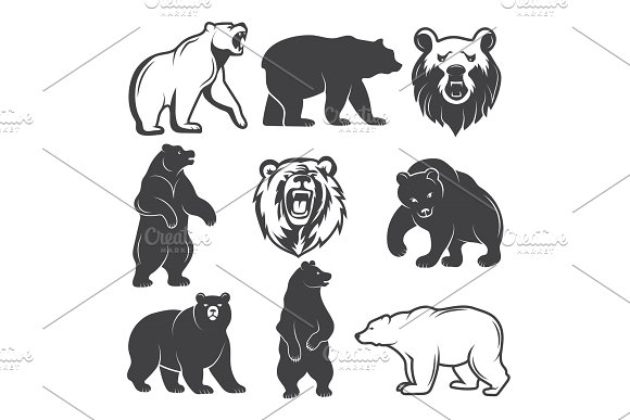 Monochrome Illustrations Of Stylized Bears Pictures Set For Logos Or Badges Design