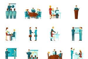 Business training flat icons set