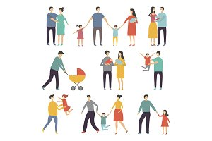 Stylized illustrations of happy family. Adults and kids